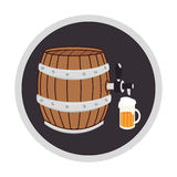Color circular frame with beer barrel and glass Royalty Free Stock Images