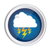Color circular frame and blue background with cloud with lightnings Royalty Free Stock Photo