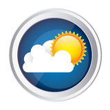 color circular frame and blue background with cloud and sun Royalty Free Stock Images
