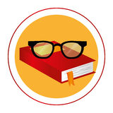 Color circular frame with book and glasses Royalty Free Stock Image