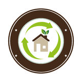 Color circular frame with eco home. Vector illustration Stock Images