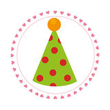 Color circular frame with party hat Royalty Free Stock Photos
