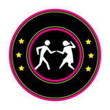 Color circular frame with pictogram of couple dancing Royalty Free Stock Photography