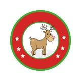 Color circular frame with reindeer Stock Photo
