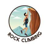 Color circular frame with scene landscape man hanging on the cliff rock climbing. Vector illustration Royalty Free Stock Photo