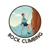 Color circular frame with scene landscape man mountain descent with equipment rock climbing. Vector illustration stock illustration