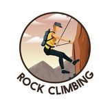 Color circular frame with scene landscape man mountain descent with harness rock climbing. Vector illustration stock illustration