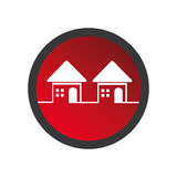 Color circular frame with set of houses Royalty Free Stock Photography