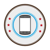 Color circular frame with stars and cellphone Stock Image