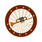 Color circular frame with trumpet Royalty Free Stock Photo