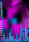 Color city. Colorful city landscape with wave and digital numbers Stock Photo