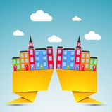 Color city background. Color funny city background with clouds Stock Illustration
