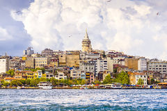 Color cityscape of Galata district, Istanbul, Turkey Royalty Free Stock Photo