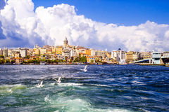 Color cityscape of Galata district, Istanbul, Turkey Stock Photo