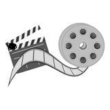 Color clapper board film and film production icon. Illustraction design Royalty Free Stock Photo