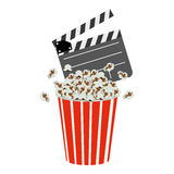 Color clapper board and pop corn icon. Illustraction design Royalty Free Stock Images