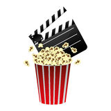 Color clapper board and pop corn icon. Illustraction design Royalty Free Stock Image