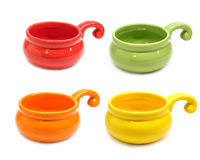 Color clay pots for roasting julienne isolated Royalty Free Stock Images