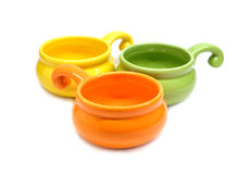 Color clay pots for roasting julienne isolated Royalty Free Stock Photos