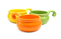 Color clay pots for roasting julienne isolated Stock Photo