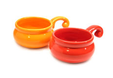 Color clay pots for roasting julienne isolated Stock Photos