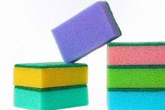 The cleaning scouring sponges. The color cleaning porolonovy scouring sponges and other stock Stock Image