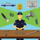 Vector clip art. Infographics education. Profession of the policeman stock illustration