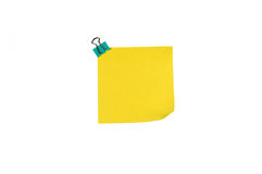 Color clip and yellow sticky notes. White background color clips and yellow sticky notes Stock Photography
