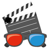 Color clipart and 3D glasses icon. Illustraction design Stock Photos