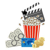 Color clipper board, pop corn and money icon Royalty Free Stock Image