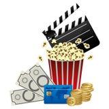 Color clipper board, pop corn and money icon. Illustraction design Stock Photo