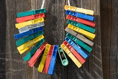 Color clothes-pegs Stock Images