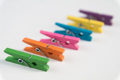 Color clothes pegs Stock Image