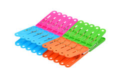 Color clothes pegs stock photography