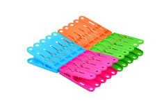 Color clothes pegs stock photo