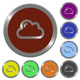 Color cloud buttons. Set of color glossy coin-like cloud buttons Stock Photography