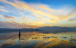 Color cloud the water. Photographed in Erhai Lake in Yunnan, China royalty free stock photo