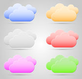 Color Clouds. Collection on gray background with shadow Stock Image