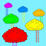 Color clouds with stairs, vector illustration. The Color clouds with stairs, vector illustration Royalty Free Stock Photography