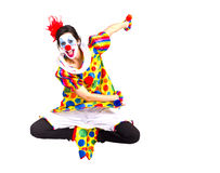 Polkadot Color Clown Jumping in Happy Dance Royalty Free Stock Photo