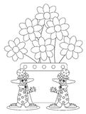 Color the clowns. Illustration representing two tiwns clowns with a big flowerpot. Illustration creating to be coloured by children Stock Photo