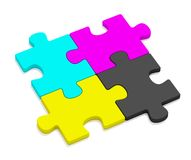 Color (CMYK) Puzzles. Color CMYK Puzzles on whihe background Stock Image