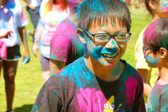 A Color coated boy with glasses Spring Festival Royalty Free Stock Images