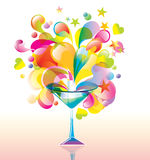 Color cocktail. With great splash Royalty Free Stock Photos