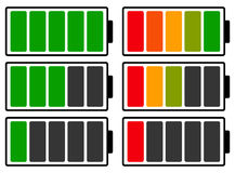 Color coded battery level indicator. Battery running low / recha. Rgeable battery - Royalty free  illustration Royalty Free Stock Photo