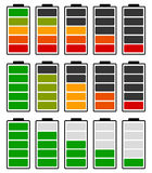 Color coded battery level indicator. Battery running low / recha. Rgeable battery - Royalty free vector illustration Royalty Free Stock Photos