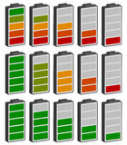 Color coded battery level indicator. Battery running low / recha. Rgeable battery - Royalty free vector illustration Royalty Free Stock Photography