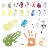 Color coded hand and finger traces Stock Photo