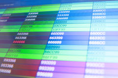 Color codes. Screen with web color code writings Stock Photos