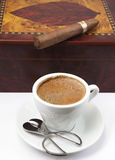 The color of coffee. A cup of coffee and cigar photographed against the backdrop of hyumidora Royalty Free Stock Photo